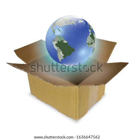 Planet Earth being packed /delivered /placed inside a cardboard box Photo stock ©