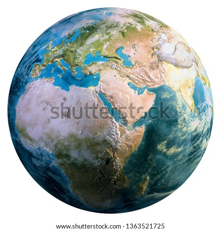 Planet Earth continents. Elements of this image furnished by NASA. 3d rendering
