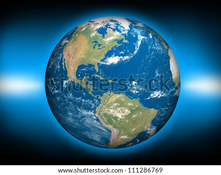 Planet earth (3D render of Planet Earth. Earth texture map source : http://www.shadedrelief.com/natural3/pages/textures.html)