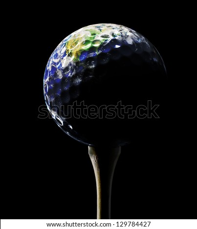 Planet Earth depicted as a Golf Ball with dramatic lighting (original image of planet Earth is a public domain image from NASA)
