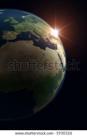 Planet Earth. Europe. Background is full with stars (in case you don't see on thumbnail). - stock photo