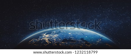 Planet Earth - Europe. 3D Rendering. Stars my own photo. Elements of this image furnished by NASA