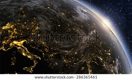 Planet earth Europe zone with night time and sunrise. Highly detailed. 3d Render using satellite imagery (NASA). \ also this images as footage at http://www.shutterstock.com/video/video.html?id=4576922