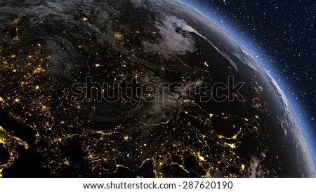 Planet earth Europe zone with night time and sunrise. Highly detailed. 3d Render using satellite imagery (NASA).  #287620190