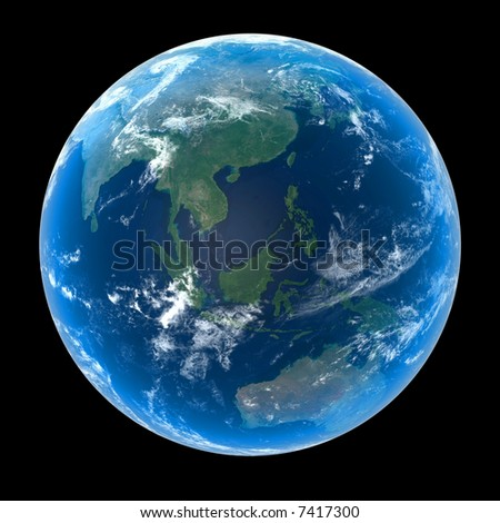 Planet Earth featuring Asia and Oceania with atmosphere and cloud formations