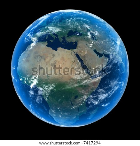 Planet Earth featuring Europe, Africa and the Middle East with atmosphere and cloud formations