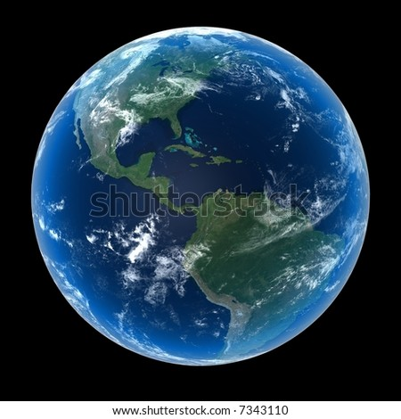 Planet Earth featuring North, Central and South America with clouds