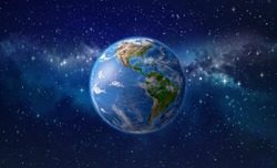 Planet Earth focused on America, star cluster and nebula in outer space. 3D illustration - Elements of this image furnished by NASA