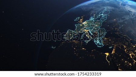 Planet Earth from Space European Union Countries highlighted teal glow, 2020 political borders and counties, city lights, 3d illustration Сток-фото ©