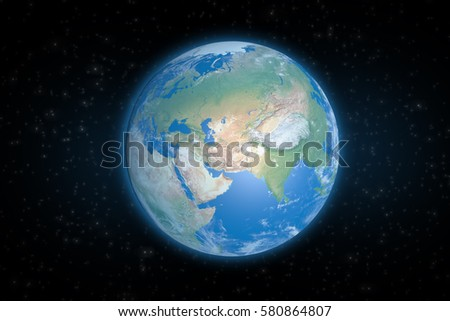 Planet Earth from space showing Asia continent. Elements of this image furnished by NASA.