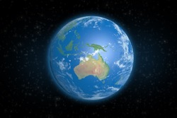 Planet Earth from space showing Australia continent. Elements of this image furnished by NASA.