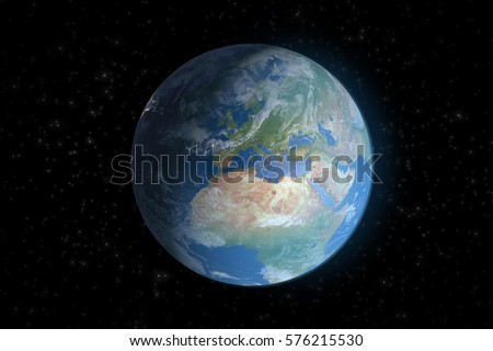 Planet Earth from space showing Europe and Africa.Elements of this image furnished by NASA.