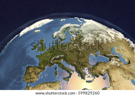 Planet Earth from space showing Western Europe in winter with enhanced bump, 3D illustration, Elements of this image furnished by NASA Stockfoto ©