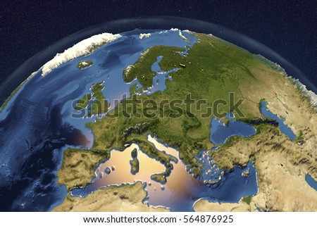 Planet Earth from space showing Western Europe with enhanced bump, 3D illustration, Elements of this image furnished by NASA Stockfoto ©