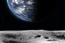 Planet Earth from the moon surface. Elements of this image are furnished by NASA