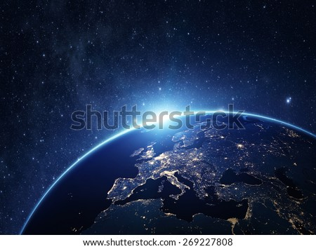 Planet earth from the space at night . Some elements of this image furnished by NASA #269227808