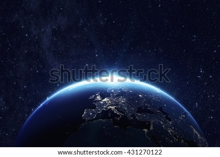 Planet earth from the space at night . Some elements of this image furnished by NASA #431270122