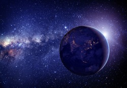 Planet earth from the space in the middle with stars. Some elements of this image furnished by NASA