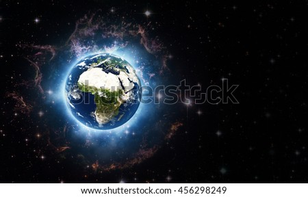 Planet Earth Global Galactic Beaming (Elements of this image furnished by NASA)