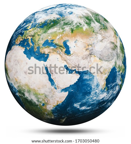Planet Earth globe isolated. Elements of this image furnished by NASA. 3d rendering