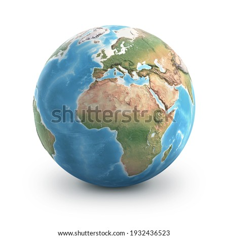Planet Earth globe, isolated on white. Geography of the world from space, focused on Europe and Africa - 3D illustration, elements of this image furnished by NASA. Stock foto ©