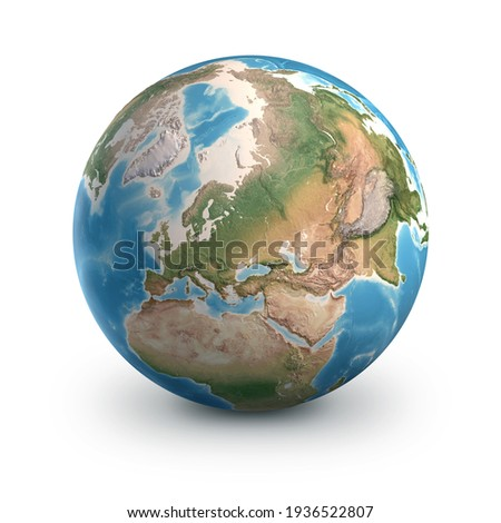 Planet Earth globe, isolated on white. Geography of the world from space, focused on Europe and Asia - 3D illustration, elements of this image furnished by NASA. Stockfoto ©