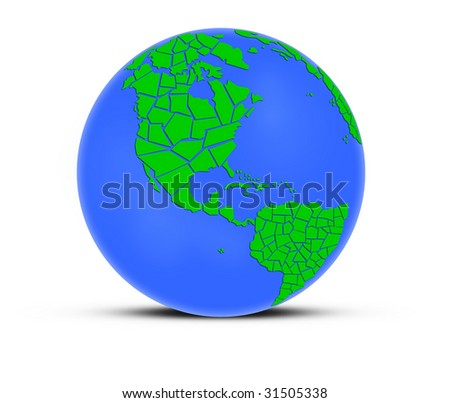 Planet earth, green continents on white background.