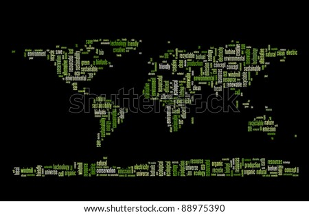 Planet earth green energy and recycle info-text graphics and arrangement word clouds concept