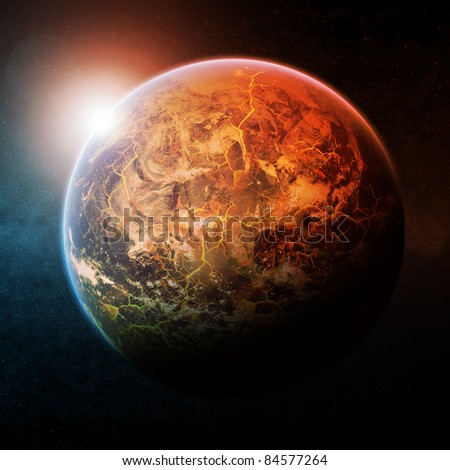 Planet Earth half burning