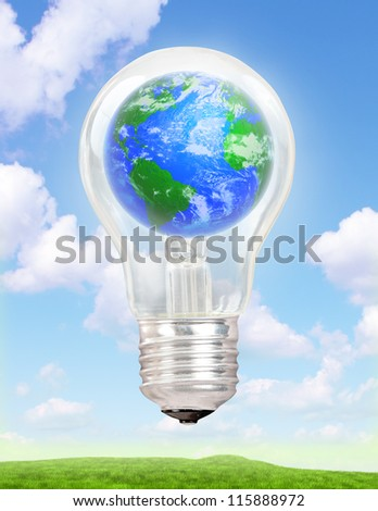 Planet Earth in a light bulb