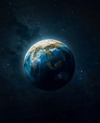 Planet Earth in dark outer space. Civilization. Elements of this image furnished by NASA