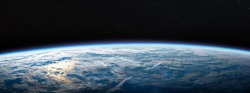 Planet Earth in dark outer space. Civilization. Wide horizontally image. Elements of this image furnished by NASA
