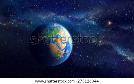 Planet Earth in deep space Detailed view of European African and Asian continent Elements of this image furnished by NASA