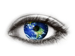 Planet earth in eye isolated on white -