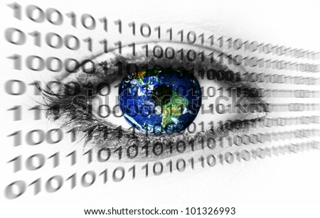 Planet earth in eye with binary numbers - (Elements of this image furnished by NASA)