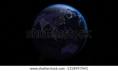 Planet Earth in night time with city lights in space with stars. Oceania side. 3d rendering illustration.