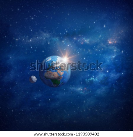 Planet Earth in outer space, sunrise and moon. Star clusters, constellations and galaxies far away behind - Elements of this illustration furnished by NASA.
