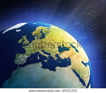 Planet earth in space with focus on European countries (3d source maps- http://visibleearth.nasa.gov/ ) - stock photo