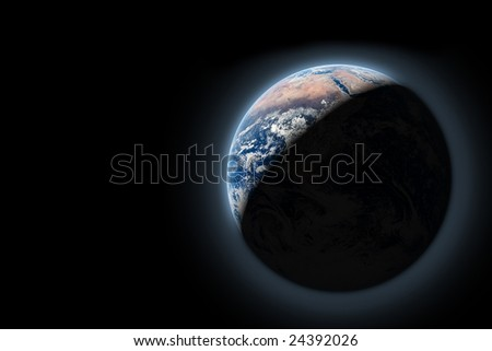 planet earth in space with sun rize