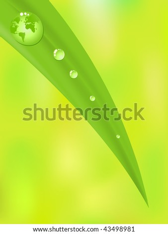 Planet Earth inside a green dew drop of water