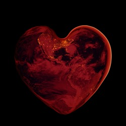 Planet Earth is red in the shape of a heart on a dark background of space. A habitable planet of the solar system. Elements of this image are provided by NASA.