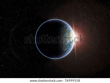 Planet earth isolated in black as viewed from space with massive glowing light flare as the sun rises over the horizon.