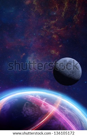 Planet Earth light beams focus on Europe / Elements of this image furnished by NASA