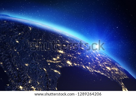 Planet Earth map. Elements of this image furnished by NASA. 3d rendering #1289264206