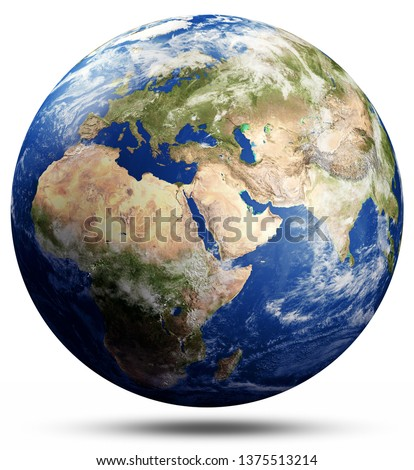 Planet Earth map globe. Elements of this image furnished by NASA. 3d rendering