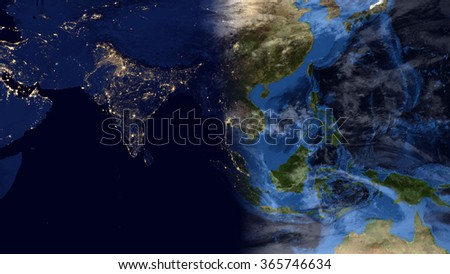 Royalty-free Planet Earth Map - Night/Day Morning… #365746640 Stock ...