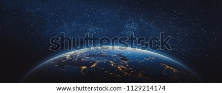 Planet Earth - Middle East and Europe. 3D Rendering. Stars my own photo. Elements of this image furnished by NASA