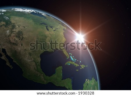 Planet Earth. North America. Background is full with stars (in case you don't see on thumbnail).