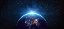 Planet Earth North America from the Space at Night. Elements of this Image Furnished by NASA