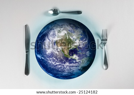 planet earth on a plate for world hunger